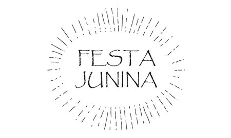Festa Junina - Calligraphy text, starburst frame design for Brazilian Carnival Event