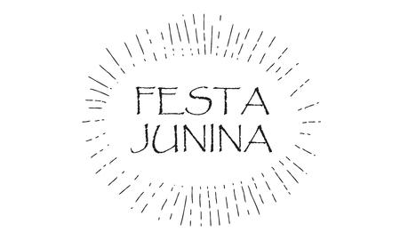 Festa Junina - Calligraphy text, starburst frame design for Brazilian Carnival Event