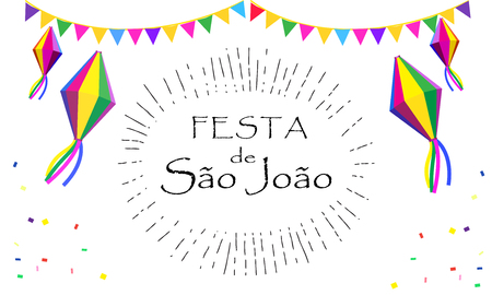 Festival Festa Junina of Sao Joao - Calligraphy lettering Brazil Carnival invitation card design