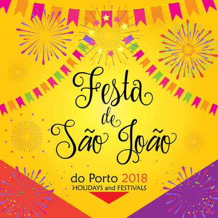 Carnival Festa Junina banner with Calligraphy Text