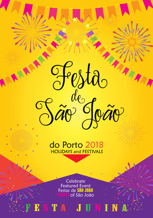 Brazilian Carnival Festa Junina Poster with Calligraphy Text