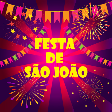 Brazilian Carnival Festa Junina Sao Joao Portuguese Text Greeting card Illustration