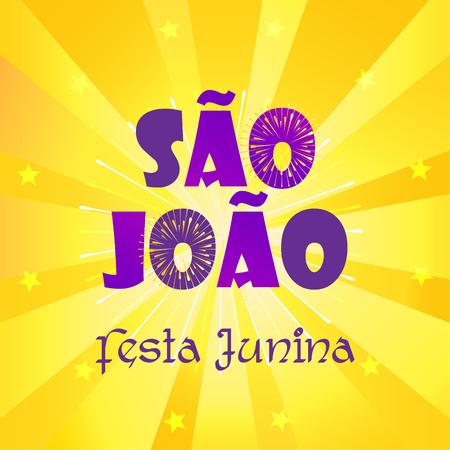 Brazilian Carnival Festa Junina Portuguese Calligraphy Text Festa de Sao Joao Festival fireworks background. Illustration