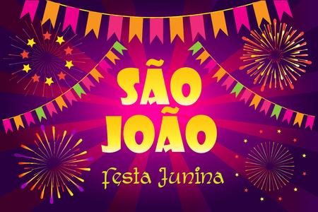 Brazilian Traditional Carnival Festa Junina Poster with Text Festa de Sao Joao Festival fireworks background. Illustration
