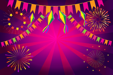 Brazilian Carnival Festa Junina fireworks festival background Ilustrace