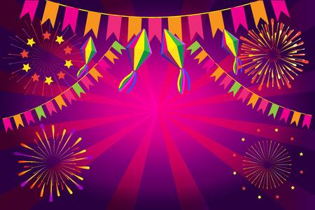 Brazilian Carnival Festa Junina fireworks festival background Illustration