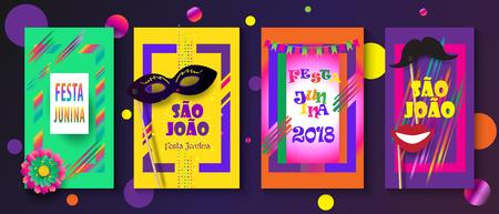 Festa Junina Brazilian Carnival Posters with Text Festa de Sao Joao Festival paper cut style - set