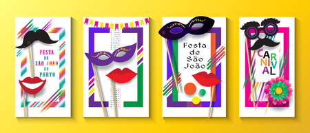 Carnival Festa Junina in Brazil Festival Event Invitation posters set