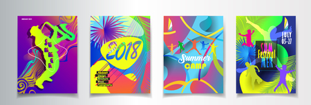 Summer Music and Dance Disco Festival posters set advertising.