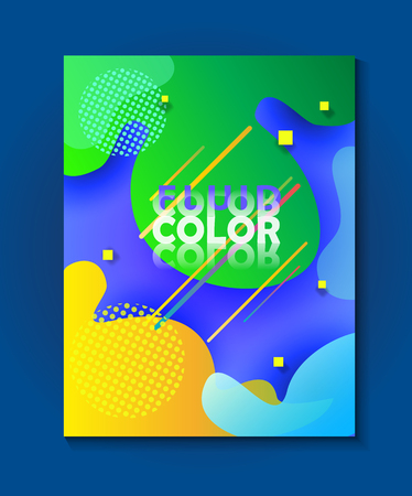 Summer Holiday abstract fluid dynamic shapes vibrant color Minimal design poster
