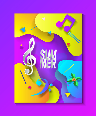 Summer Music and Dance Disco Festival Sea Beach Event advertising poster Illustration