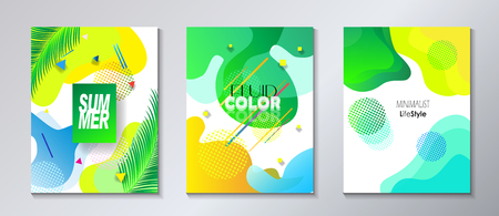 Abstract Summer Festival Holiday Event brochure invitations banners set - fluid Minimal design