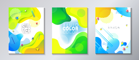 Abstract Summer Festival Kids Camp Holiday Event brochure, invitations and banners set. Illustration
