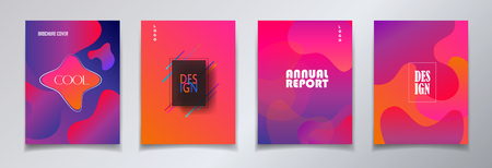 Abstract brochure covers set with abstract fluid geometric form Trendy futuristic dynamic design with liquid vibrant color bubbles business concept set.
