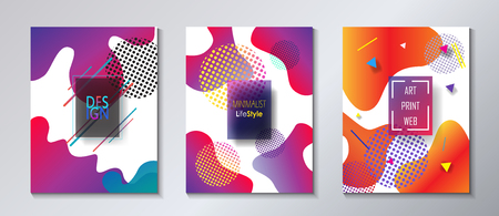 Brochure covers design set with abstract fluid geometric form shapes and lines Trendy futuristic dynamic liquid vibrant color bubbles business concept.