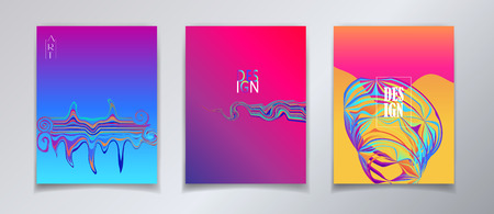 Abstract Surreal minimal design inspiration concept fluid color brochure covers set