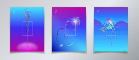 Surreal minimal design - reflection concept ultraviolet color brochure, poster and banner, set.