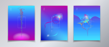Surreal minimal design - reflection concept ultraviolet color brochure, poster and banner, set.