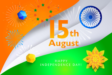 Happy India Independence Day 15th of August greeting card Indian flag paper cut
