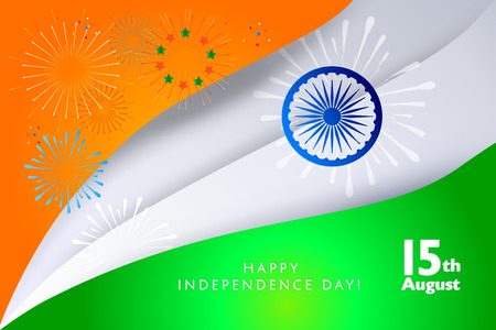 Happy India Independence Day card Indian flag paper cut background. Illustration