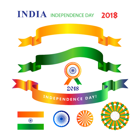 India independence day decorative symbols and ribbon banners, indian flag sign isolated on white background icons set.