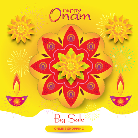 Sale banner Happy Onam festival of South India Kerala Ilustrace