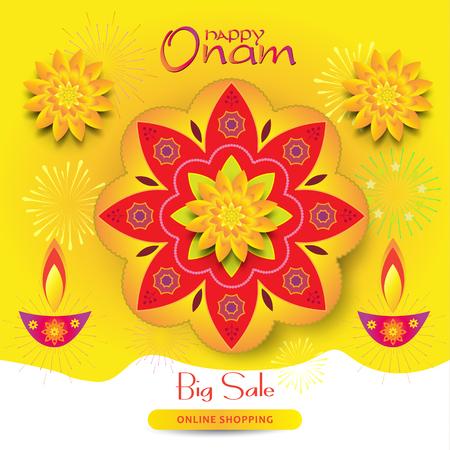 Sale banner Happy Onam festival of South India Kerala Illustration