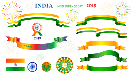 India independence day decorative symbols and ribbon banners, indian flag sign, icons set, isolated on white background. Ilustrace