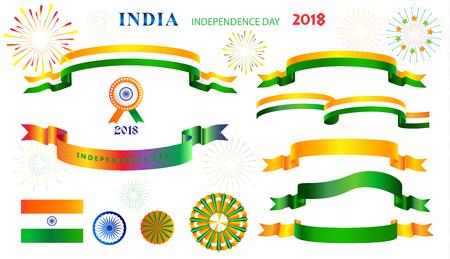 India independence day decorative symbols and ribbon banners, indian flag sign, icons set, isolated on white background. Illustration