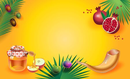 Rosh Hashana Jewish New Year Holiday Shana Tova Honey and Apple, Shofar, Pomrgranates background