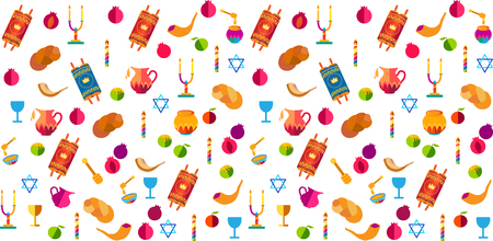 Rosh hashanah Jewish New Year pattern with traditional symbols honey and apple, shofar, pomegranate, Torah scroll, challah icons Rosh hashana, sukkot festival Israel Jerusalem symbols.