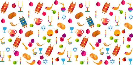 Rosh hashanah Jewish New Year pattern with traditional symbols honey and apple, shofar, pomegranate, Torah scroll, challah icons Rosh hashana, sukkot festival Israel Jerusalem symbols.