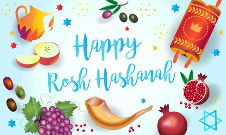 Happy Rosh Hashana Jewish New Year Holiday Shana Tova Honey and Apple, Shofar, Torah, background