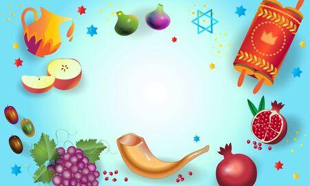 Rosh Hashana Jewish New Year Holiday Shana Tova Honey and Apple, Shofar, Torah, background page Çizim