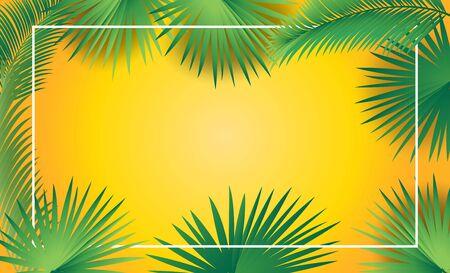 Tropical palm tree green leaves frame, sukkot festival background. Çizim