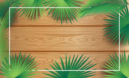 Tropical palm tree frame wood background Sukkot