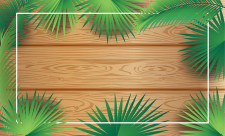 Tropical palm tree frame wood background Sukkot