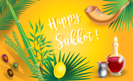 Happy Sukkot festival invitation card lulav, etrog background Ilustração