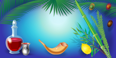 Happy Sukkot festival greeting card four species, lulav, etrog background Çizim