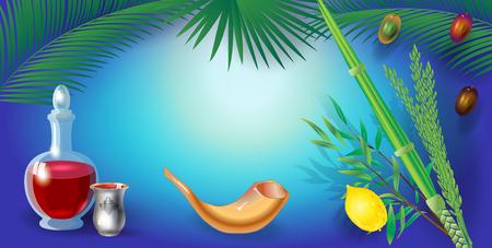 Happy Sukkot festival greeting card four species, lulav, etrog background Illustration
