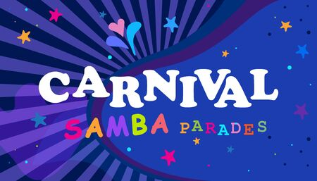 Rio Brazilian Carnival Festival Music Samba Dance Night Party Abstract Mardi Gras Banner Vector Stock Illustratie