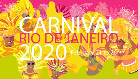 Rio Brazilian Carnival Festival Music Samba Dance Party Abstract Mardi Gras Happy People Vector Template