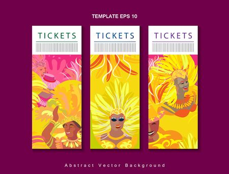Rio Brazilian Carnival Festival Music Samba Dance Party Abstract Mardi Gras Banners Set Vector Tickets Template