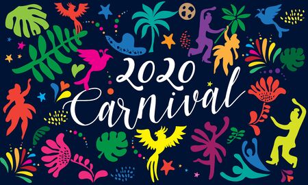 2020 Rio Brazilian Carnival Festival Music Samba Dance Party Abstract Mardi Gras Invitation Banner Vector