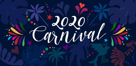 2020 Rio Brazilian Carnival Festival Music Samba Dance Party Abstract Mardi Gras Invitation Card