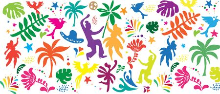 Rio Brazilian Carnival Festival Music Samba Dance Party Abstract Mardi Gras seamless tropical pattern