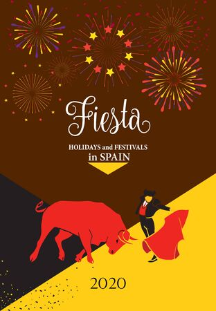 Spain fiestas or festivals Bull and Toreador abstract poster Spanish San Fermin bullfight Festivals 2020