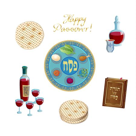 Happy Passover Holiday - translation Hebrew text, traditional food symbols