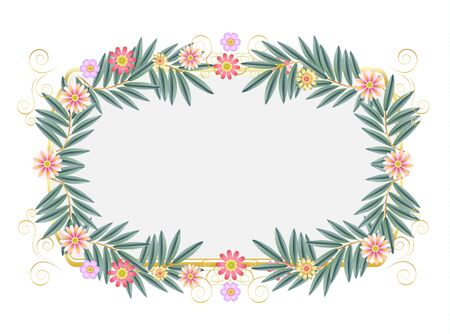 Vintage decorative floral frame for Jewish Holiday Passover Pesach, Shavuot, Rosh Hashanah, Purim Sukkot greeting card decoration Stock Illustratie