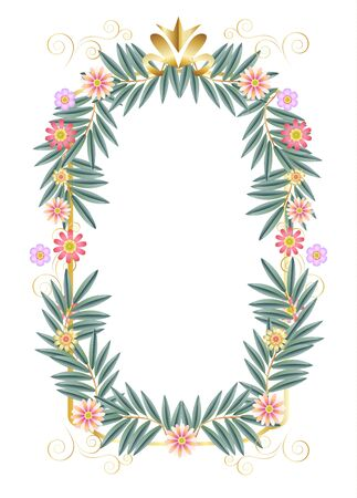 Vintage floral frame for Wedding Day Jewish Holiday decoration with white copy space for text template